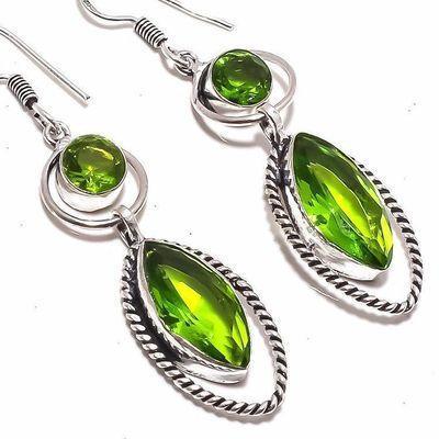 Per 662c boucles pendants oreilles peridot 10x20mm 10gr achat vente bijou argent 925