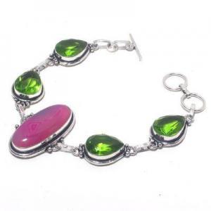 Per 674a bracelet peridot agate rose 26gr 10x15mm achat vente bijou ethnique argent 925