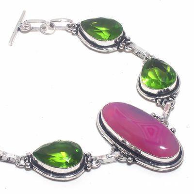Per 674b bracelet peridot agate rose 26gr 10x15mm achat vente bijou ethnique argent 925