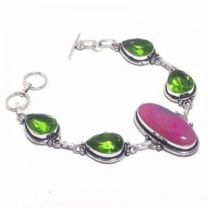 Per 674d bracelet peridot agate rose 26gr 10x15mm achat vente bijou ethnique argent 925
