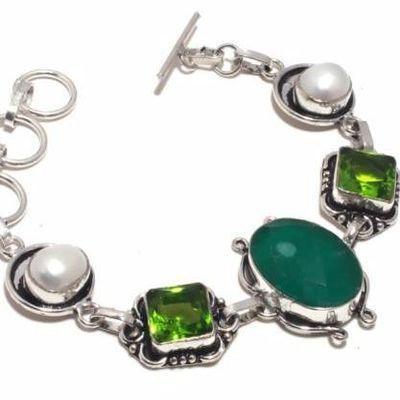 Per 675b bracelet peridot emeraude perles 19gr 22x15mm achat vente bijou ethnique argent 925