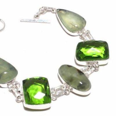Per 714b bracelet prehnite peridot 27gr 15x20mm achat vente bijou ethnique argent 925