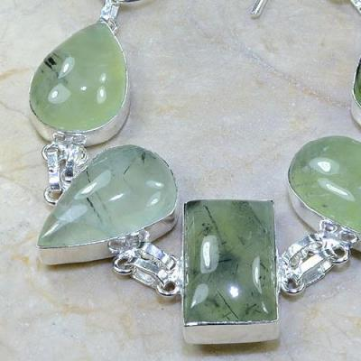 PRN-025 - BRACELET en PREHNITE Verte - Monture en Argent 925 - 187 carats - 37,4 gr