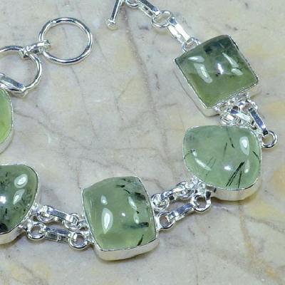 PRN-029 - BRACELET en PREHNITE Verte - Monture en Argent 925 - 137 carats - 27,4 gr