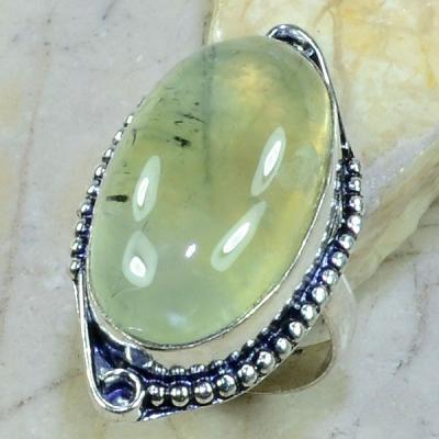 PRN-046 - BAGUE T 59 Anneau en PREHNITE Verte - Monture Argent 925 - 67 carats - 13,4 gr