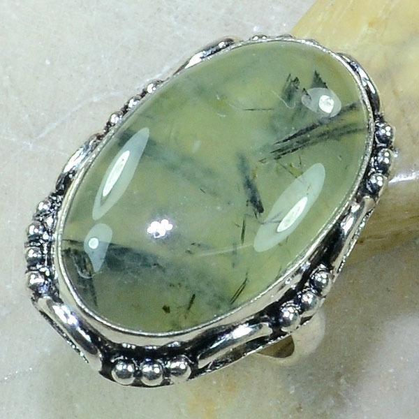 PRN-048 - BAGUE T 56 Anneau en PREHNITE Verte - Monture Argent 925 - 48 carats - 9,6 gr