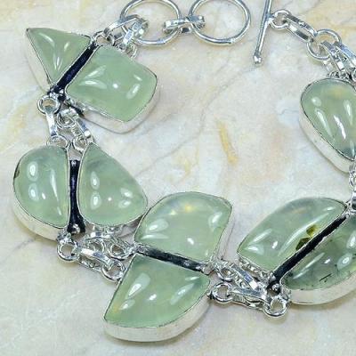 PRN-049 - BRACELET en PREHNITE Verte - Monture en Argent 925 - 230 carats - 46 gr