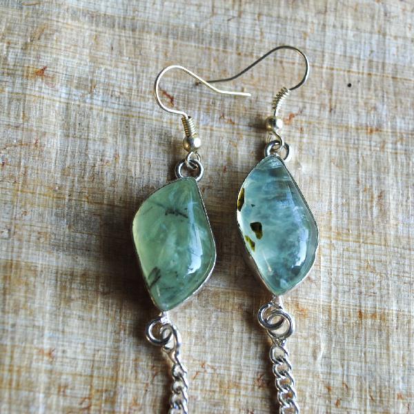 Prn 053a boucles pendants oreilles prehnite argent 925 achat vente bijou