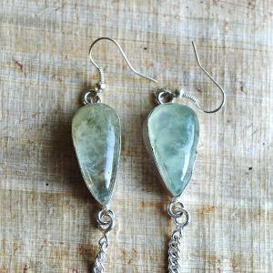Prn 054a boucles pendants oreilles prehnite argent 925 achat vente bijou