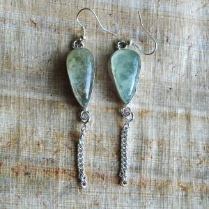 Prn 054b boucles pendants oreilles prehnite argent 925 achat vente bijou