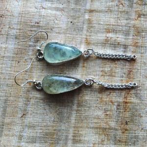 Prn 054c boucles pendants oreilles prehnite argent 925 achat vente bijou