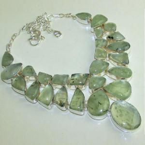 Prn 059a collier parure sautoir prehnite verte achat vente bijou argent 925