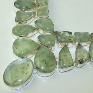 Prn 059b collier parure sautoir prehnite verte achat vente bijou argent 925