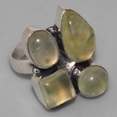 PRN-063 - BAGUE T 57 médiévale Cabochon 4 PREHNITES Vertes - Monture Argent 925 - 42,5 carats - 8,5 gr