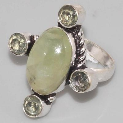 PRN-064 - BAGUE T 58 médiévale Cabochon 4 PREHNITES Vertes - Monture Argent 925 - 35 carats - 7 gr