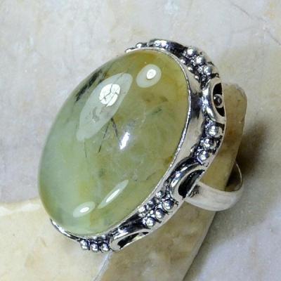 PRN-067 - BAGUE T 58 Anneau en PREHNITE Verte - Monture Argent 925 - 64 carats - 12,8 gr