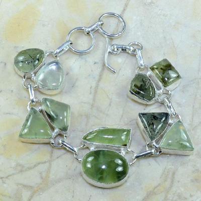 PRN-070 - BRACELET en PREHNITE Verte - Monture en Argent 925 - 160 carats - 32 gr