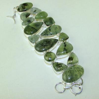 PRN-077 - Enorme BRACELET en PREHNITE Verte - Monture en Argent 925 - 450 carats - 90 gr