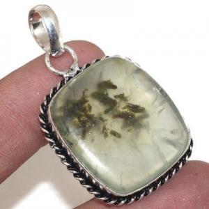 Prn 155a pendentif pendant 25x30mm 13gr prehnite verte ethnique achat vente bijou argent 925