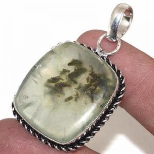 Prn 155b pendentif pendant 25x30mm 13gr prehnite verte ethnique achat vente bijou argent 925