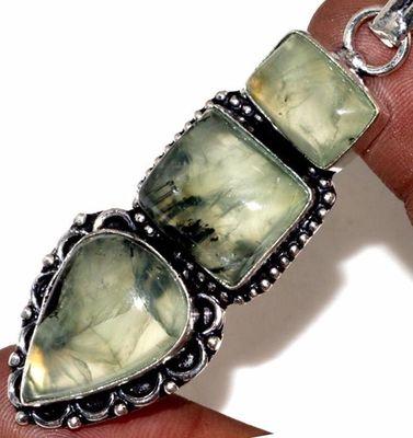 Prn 157c pendentif pendant 70mm 25x15mm 16gr prehnite verte ethnique achat vente bijou argent 925