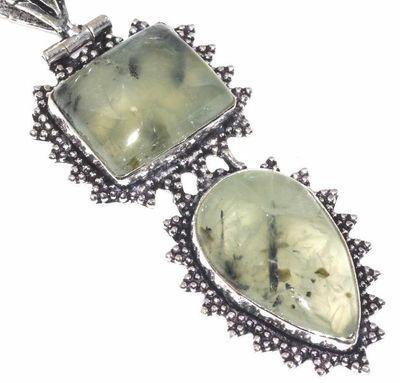 Prn 158c pendentif pendant 70mm 20x30mm 18gr prehnite verte ethnique achat vente bijou argent 925