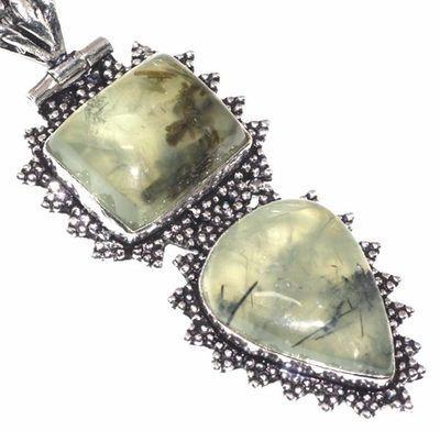 Prn 160c pendentif pendant 70mm 20x30mm 18gr prehnite verte ethnique achat vente bijou argent 925