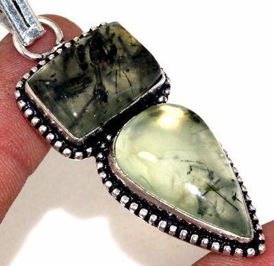 Prn 161c pendentif pendant 60mm 20x30mm 14gr prehnite verte ethnique achat vente bijou argent 925