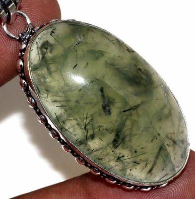 Prn 169c pendentif pendant 70mm 22x40mm 18gr prehnite verte ethnique achat vente bijou argent 925