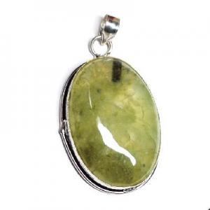 Prn 171c pendentif pendant 62mm 30x45mm 18gr prehnite verte ethnique achat vente bijou argent 925