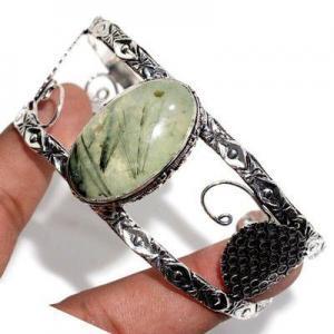 Prn 236a bracelet torque 20x30mm 36gr prehnite verte ethnique achat vente bijou argent 925