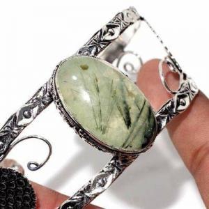 Prn 236b bracelet torque 20x30mm 36gr prehnite verte ethnique achat vente bijou argent 925