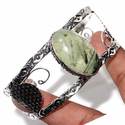 Prn 236d bracelet torque 20x30mm 36gr prehnite verte ethnique achat vente bijou argent 925