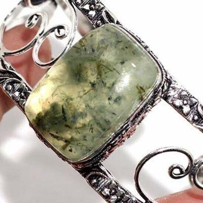 Prn 237c bracelet torque 20x30mm 40gr prehnite verte ethnique achat vente bijou argent 925