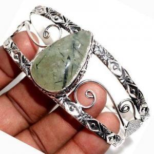 Prn 238a bracelet torque 20x30mm 36gr prehnite verte ethnique achat vente bijou argent 925