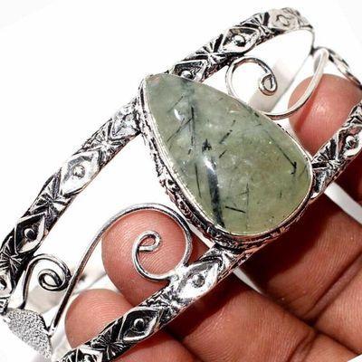 Prn 238b bracelet torque 20x30mm 36gr prehnite verte ethnique achat vente bijou argent 925