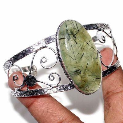 Prn 239d bracelet torque 25x50mm 43gr prehnite verte ethnique achat vente bijou argent 925