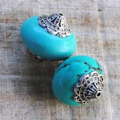 Ptq 009a perles turquoise tibetaine 26x30mm achat vente loisirs creatifs