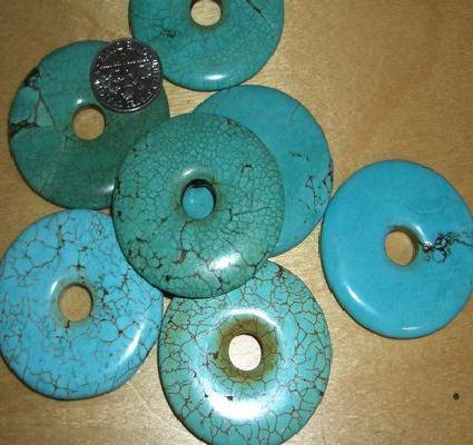 Ptq 017d donut 35mm perle turquoise howlite reconstituee 1