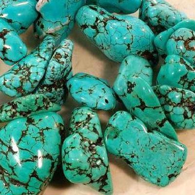 Ptq 026a lot perle turquoise naturelle bleue 20x15 achat vente loisirs creatifs