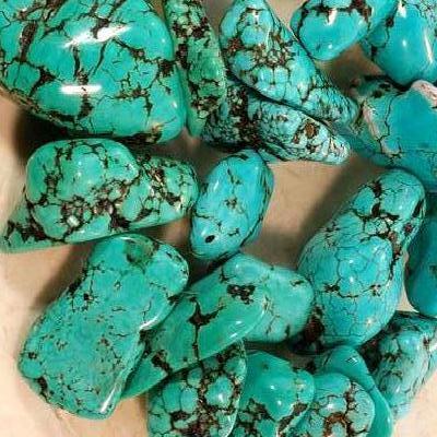 Ptq 027a lot perle turquoise naturelle bleue 20x15 achat vente loisirs creatifs