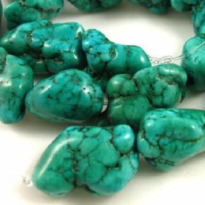 Ptq 038a 1 perle turquoise naturelle bleue 20x25x30mm achat vente loisirs creatifs
