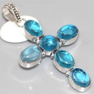 Qz 0057a croix pendant pendentif quartz bleu achat vente
