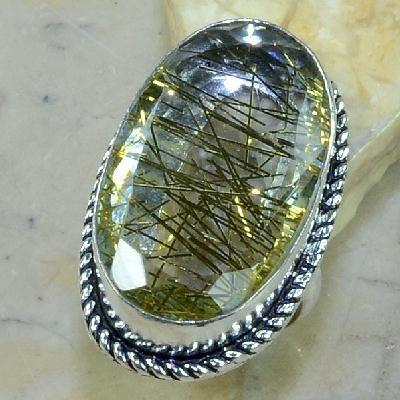 Qz 0077a bague t58 quartz rutile bijou achat vente argent 925
