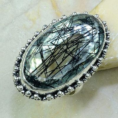 Qz 0090a bague t61 medievale quartz tourmaline bijou achat vente argent 925