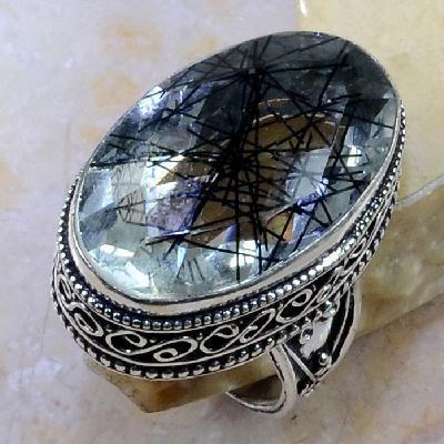 Qz 0095a bague t60 quartz tourmaline achat vente bijou argent 925