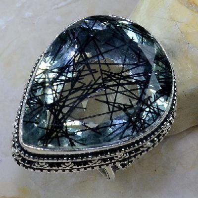 Qz 0096a bague t56 quartz tourmaline achat vente bijou argent 925