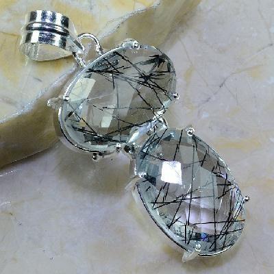 Qz 0098a pendant pendentif quartz rutile tourmaline pierre gemme achat vente