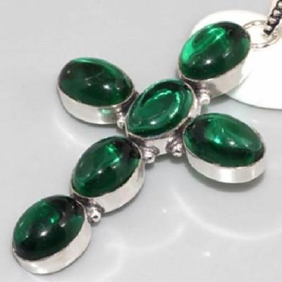 Qz 0109b croix chretienne quartz vert argent achat vente bijou 925