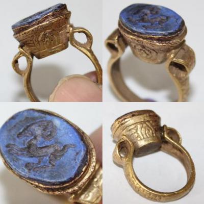 RO-0007 - Bague Romaine Etrusque Antique Afghan en LAPIS LAZULI à Intaille Bélier --------- T 58 ----- 37 carats